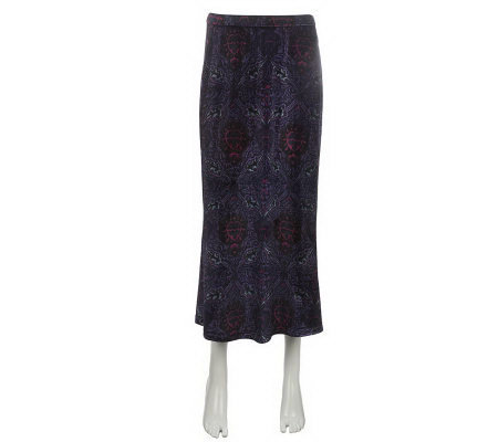 Linea by Louis Dell'Olio Flat Front Printed Velvet Skirt