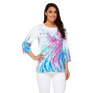 Bob Mackie's 3/4 Sleeve Printed Pullover Sweater - A234237