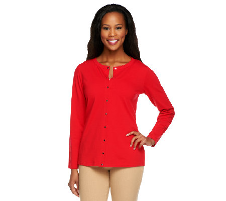 Susan Graver Weekend Stretch Cotton Snap Front Cardigan
