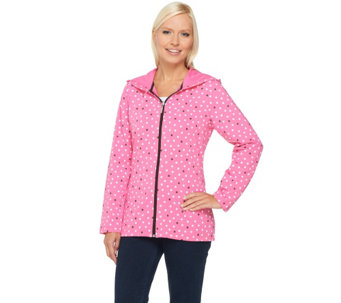 Denim & Co. Active French Terry Dot Print Jacket - A251637