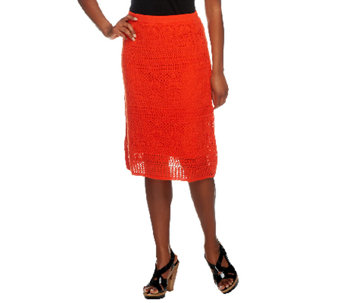 Liz Claiborne New York Pull-On Lined Pointelle Skirt - A253737
