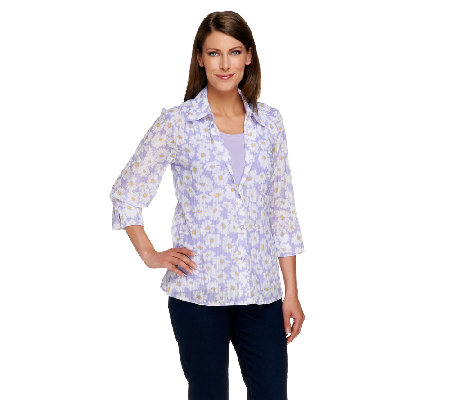 Denim & Co. Daisy Print Burn-out Blouse with Knit Tank