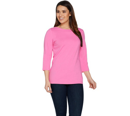 Denim & Co. Essentials Bateau Neck 3/4 Sleeve Knit Top