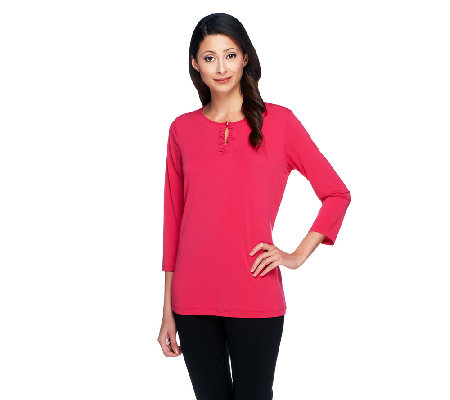 Susan Graver Liquid Knit 3/4 Sleeve Top with Ruched Keyhole Detail