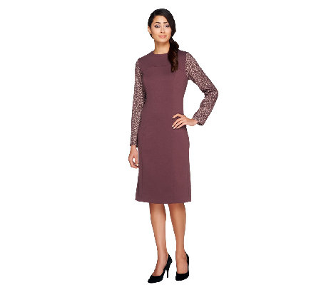 George Simonton Ponte Knit Dress with Metallic and Crochet Accents