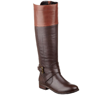 Marc Fisher Leather Wide Calf Riding Boots - Anlosa