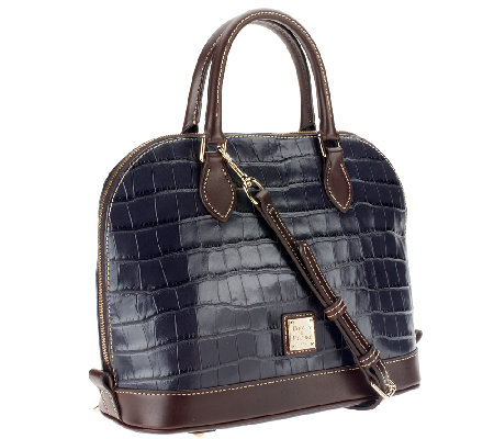 Dooney & Bourke Croco Embossed Leather Zip Zip Satchel