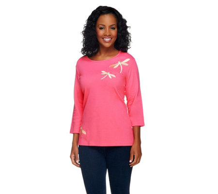 Quacker Factory Dragonfly Motif 3/4 Sleeve T-Shirt
