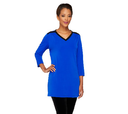 Susan Graver Liquid Knit Color Block V-Neck Tunic