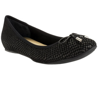 """As Is"" Isaac Mizrahi Live! Textured Leather Ballet Flats - A260437"