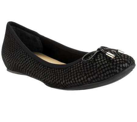 """As Is"" Isaac Mizrahi Live! Textured Leather Ballet Flats"