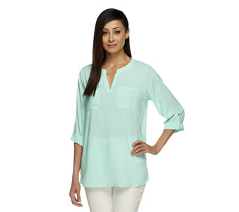 """As Is"" Susan Graver Stretch Woven Split Neck Tunic w/ Roll Tab Sleeve - A260537"