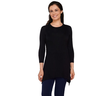LOGO by Lori Goldstein 3/4 Sleeve Knit Top with HandkerchiefHem