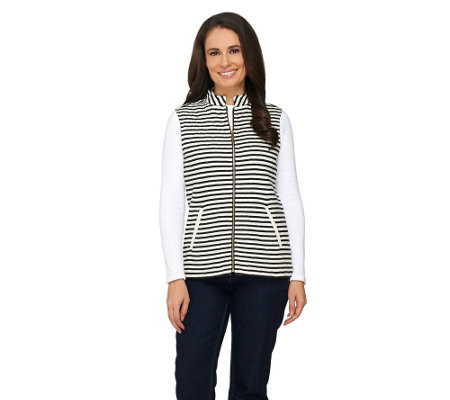 Liz Claiborne New York Striped Quilted Vest with Pockets