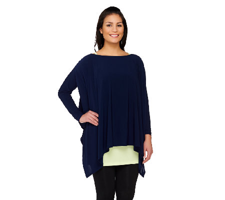 Attitudes By Renee Long Sleeve Draped Top with Tank Set