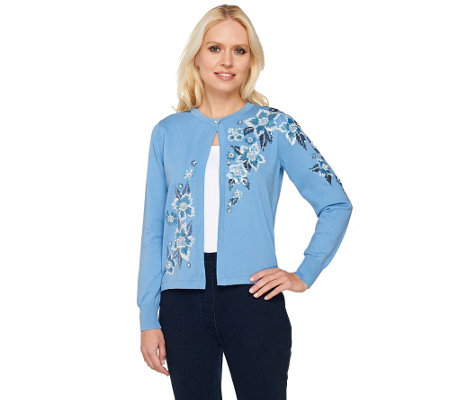 Bob Mackie's Floral Embroidered Cardigan with Sequin Detail