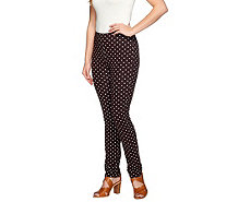 Susan Graver Weekend Printed Cotton Spandex Ankle Length Leggings - A263837