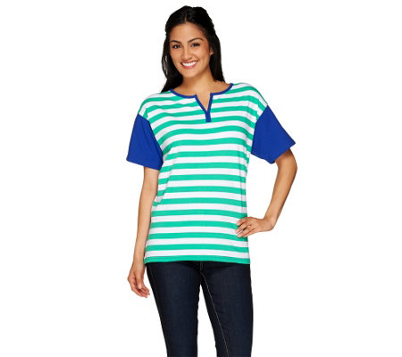 Denim & Co. Striped Knit Split V-Neck Short Sleeve Top