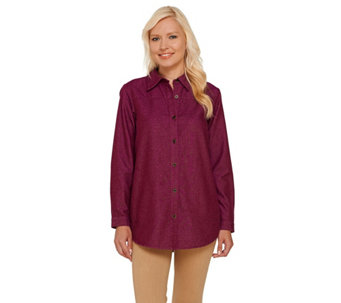 Joan Rivers Classic Denim Boyfriend Shirt with Pockets - A266637