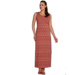 Denim & Co. Printed Jersey Sleeveless Maxi Dress w/ Ties - A266837