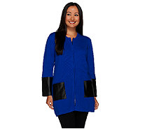 Linea by Louis Dell'Olio Cardigan with Faux Leather Trim - A267937