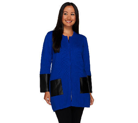 Linea by Louis Dell'Olio Cardigan with Faux Leather Trim