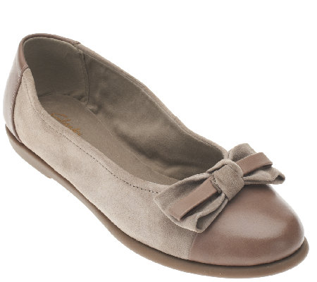 """As Is"" Clarks Suede Flats with Bow - Greely Alder"