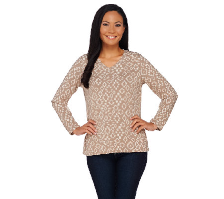 Denim & Co. Printed V-Neck Long Sleeve Top