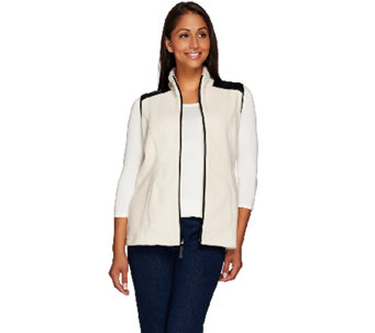 Susan Graver Weekend Polar Fleece Vest with Faux Leather Detail - A269237