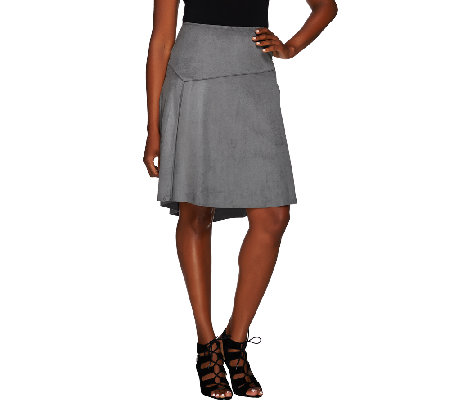 H by Halston Faux Suede Skirt with Hi-Low Hem