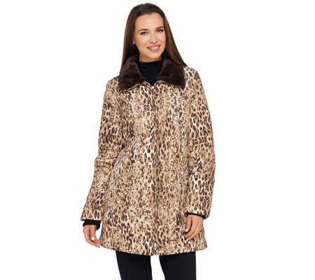 Dennis Basso Printed Water Resistant Jacket with Faux Fur Collar