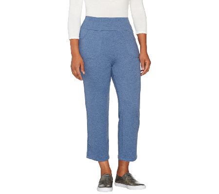 """As Is"" LOGO Lounge by Lori Goldstein French Terry Crop Pants"