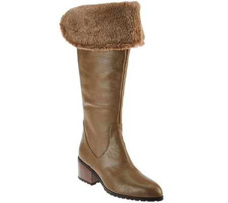 H by Halston Leather Over-the-knee Boots with Faux Fur - Donna