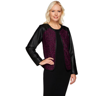 Joan Rivers Open Front Lace Jacket w/ Faux Leather Sleeves