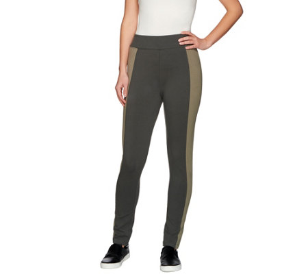 LOGO by Lori Goldstein Petite Knit Pants with Contrast Panels