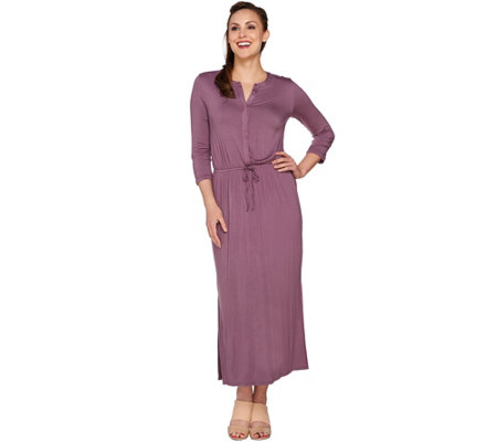 H by Halston 3/4 Sleeve Maxi Dress with Drawstring