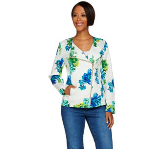 Susan Graver Unlined Stretch Printed Pique Jacket - A276437