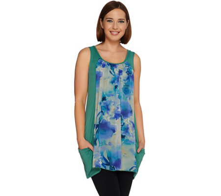 LOGO by Lori Goldstein Knit Tank with Printed Chiffon Front Panel