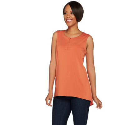 H by Halston V-Neck Button Front Tank