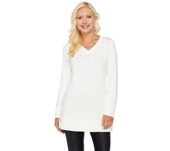 """As Is"" Susan Graver Novelty Stitch V-Neck Long Sleeve Sweater - A279137"