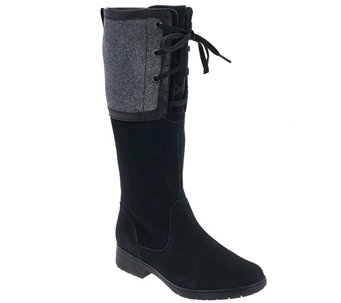 """As Is"" Clarks Suede Wide Calf Tall Shaft Boots - Merrian Noble - A280437"