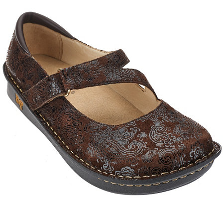 """As Is"" Alegria Leather Mary Janes Wide Width - Jill"