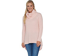 Isaac Mizrahi Live! 2-Ply Cashmere Cowl Neck Cable Knit Sweater - A281337