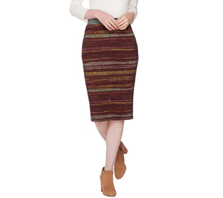 LOGO by Lori Goldstein Printed Stripe Rib Knit Skirt
