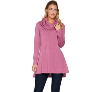 Isaac Mizrahi Live! Sweater Tunic w/ Cable Knit Cowl Neck - A284337