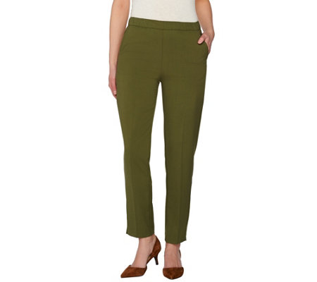 """As Is"" Susan Graver Chelsea Stretch Comfort Waist Pull-On Ankle Pants"