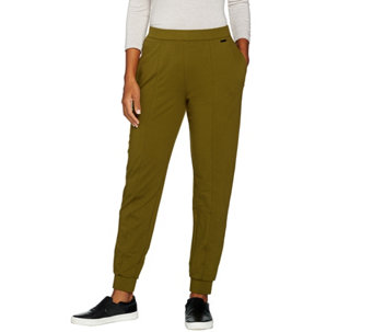 H by Halston Petite French Terry Jogger Pants w/ Seam Detail - A286437