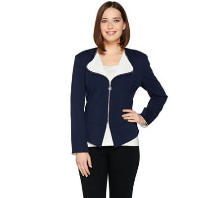 Dennis Basso Zip Front Ponte Knit Jacket with Contrast Lapel