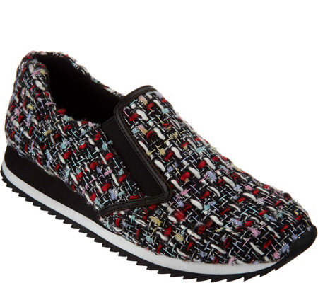 """As Is"" LOGO by Lori Goldstein Novelty Tweed Slip-on Sneakers"