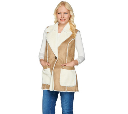 """As Is"" Susan Graver Faux Shearling Vest with Front Pockets"